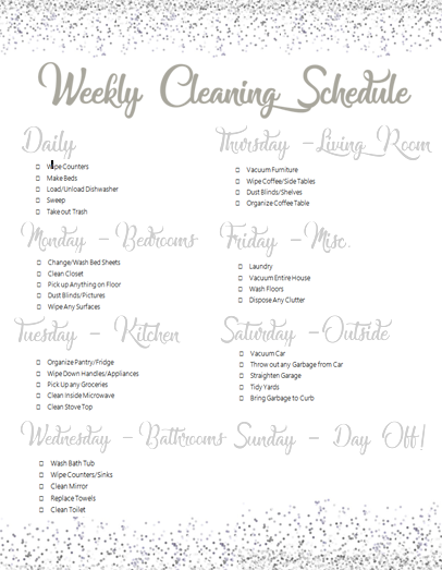 30 Minutes Sparkle Cleaning Schedule